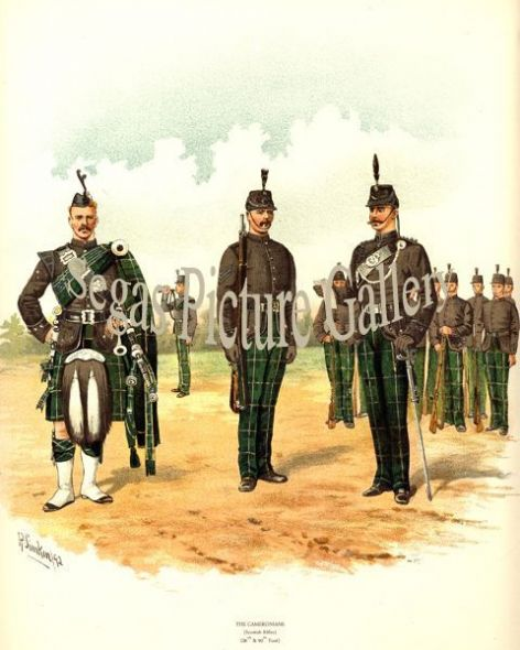 Fine art print of the British Military of The Cameronians Scotch Rifles (26th and 90th) by Richard Simkin